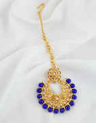 Blue Colour Gold Finish Wedding Mang Tikka