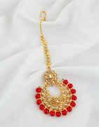 Red Colour Gold Finish Fancy Mang Tikka For Girls