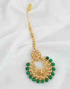 Fashionable Green Colour Gold Finish Mang Tikka