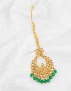 Green Colour Antique Gold Finish Mang Tika