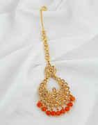 Orange Colour Antique Gold Finish Wedding Mang Tikka