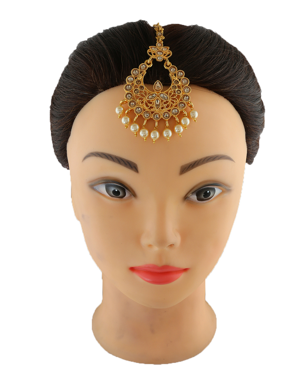 Very Classy Gold Finish Pearls Styled Fancy Mang Tika