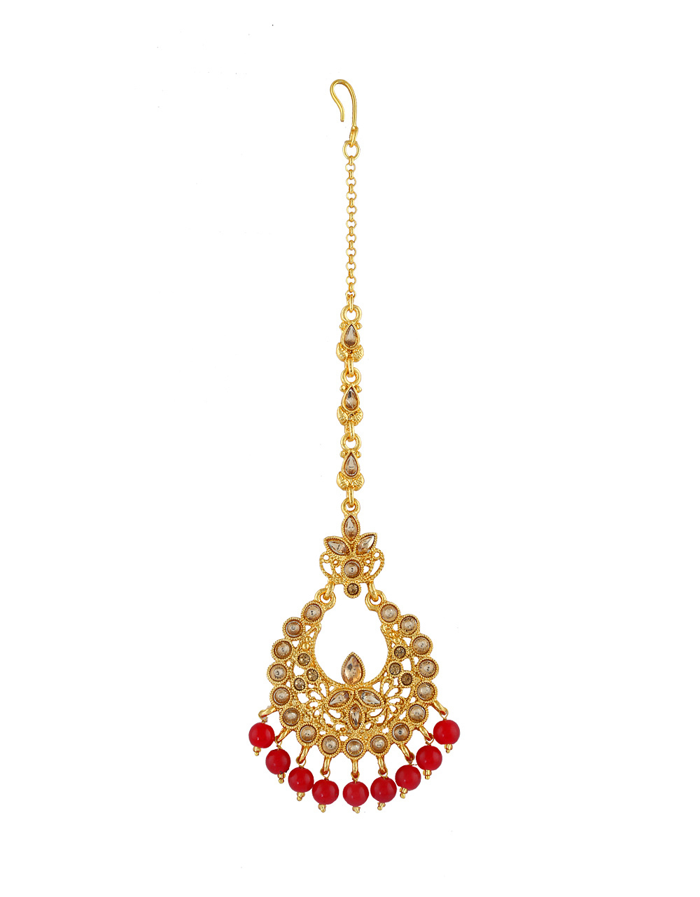 Red Colour Gold Finish Traditional Mang Tikka Jewellery