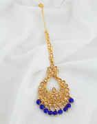 Blue Colour Gold Finish Fancy Mang Tika For Girls