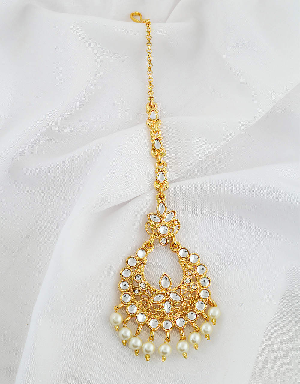 Gold Finish Mang Tika Styled With Pearls Beads Hair Jewellery