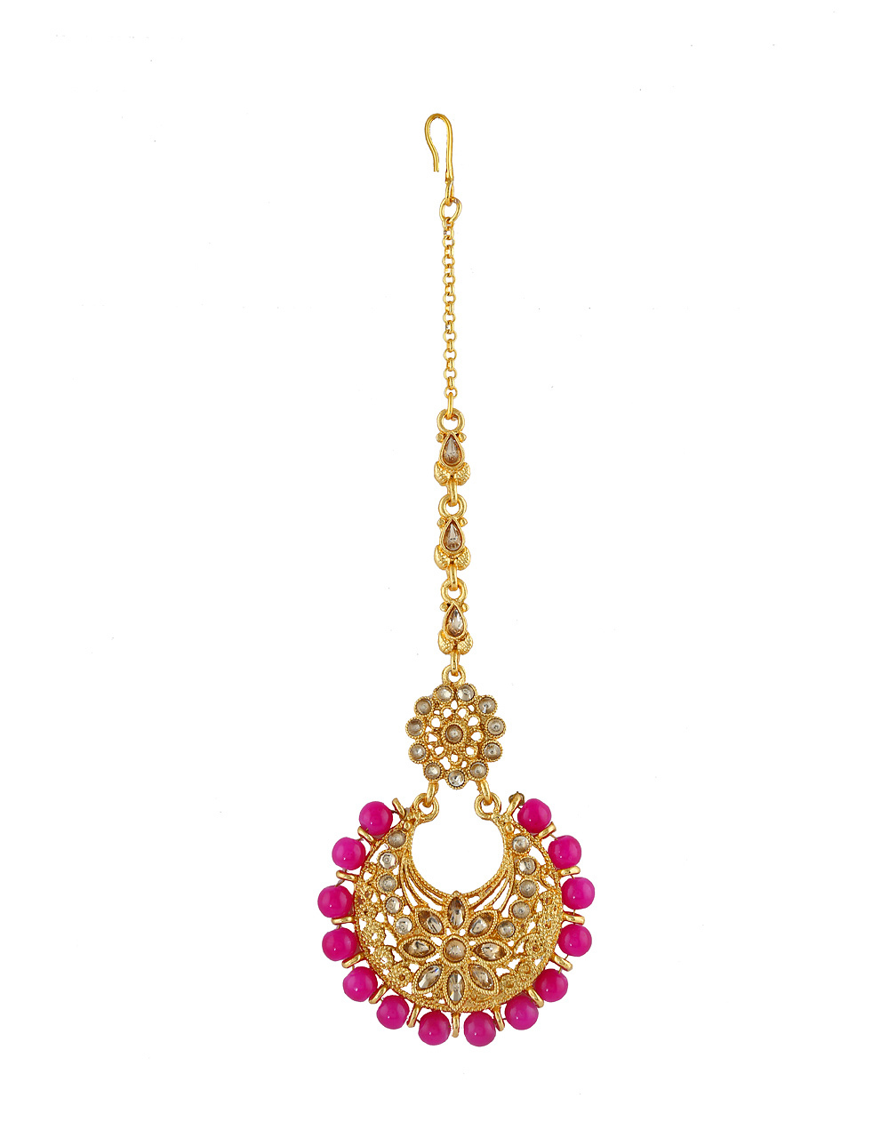 Floral Design Pink Colour Gold Finish Mang Tikka Jewellery