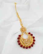 Maroon Colour Gold Finish Floral Design Mang Tikka
