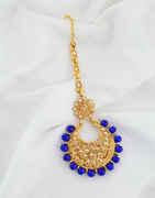 Blue Colour Floral Design Fancy Hair Mang Tikka
