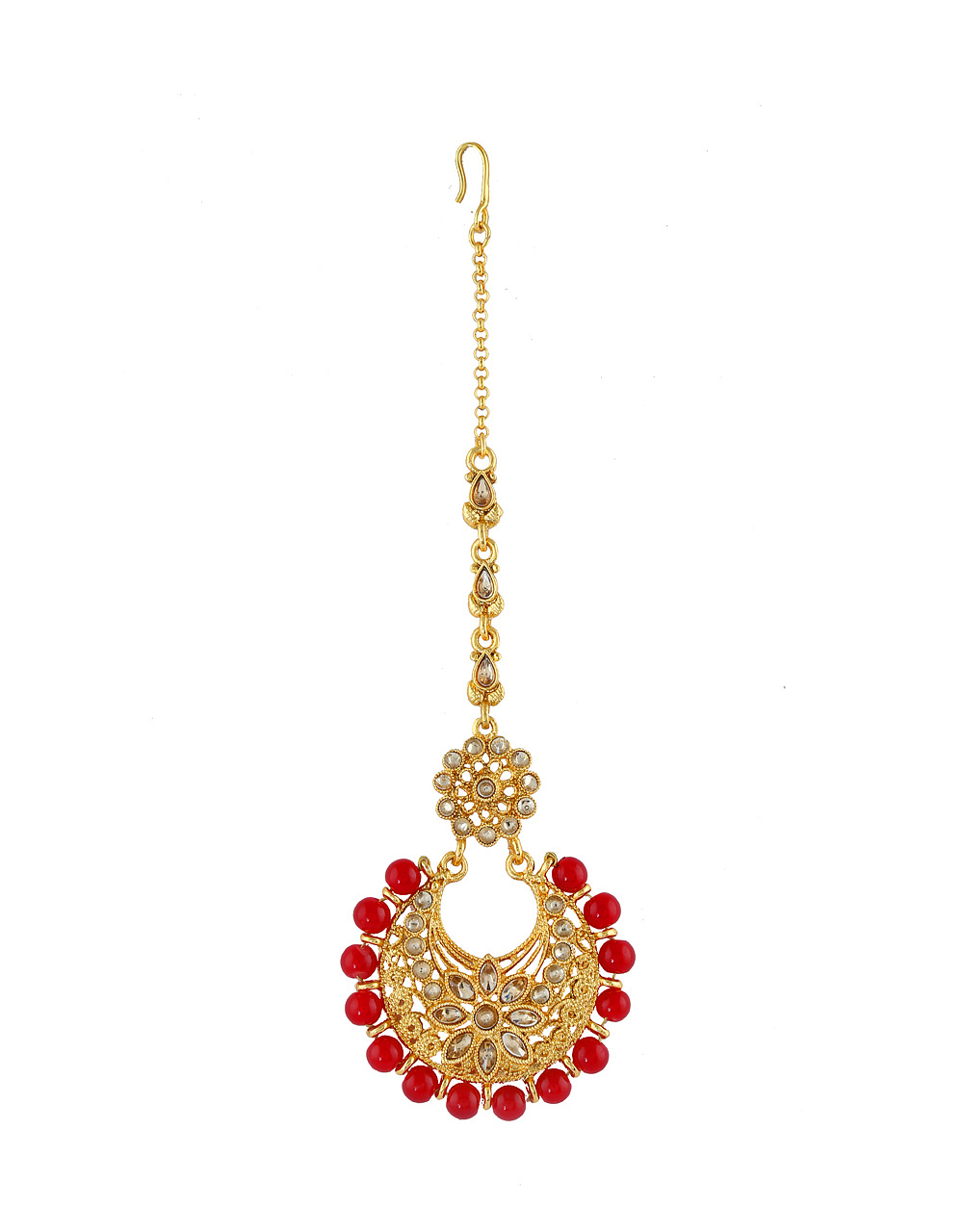 Red Colour Gold Finish Beads Styled Fancy Tikka