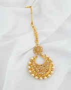 Floral Design Gold Finish Stylish Mang Tikka