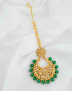 Green Colour Floral Design Beads Styled Fancy Mang Tikka