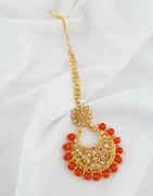 Orange Colour Gold Finish Styled With Beads Fancy Tikka