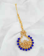 Blue Colour Gold Finish Traditional Mang Tikka Jewellery