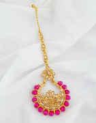 Pink Colour Floral Design Mang Tikka For Girls