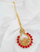 Red Colour Gold Finish Stunning Mang Tikka