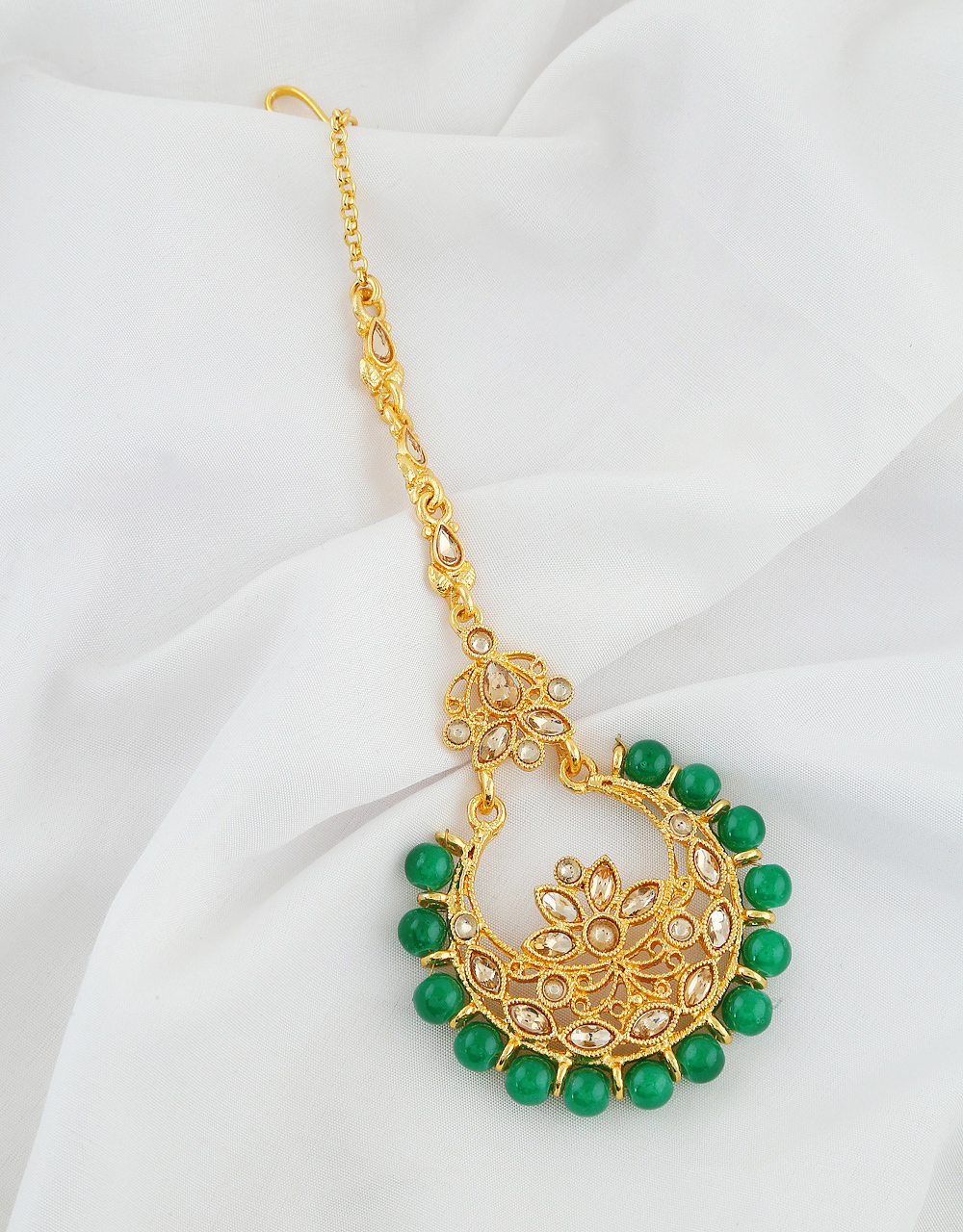 Green Colour Gold Finish Styled With Beads Fancy Tikka
