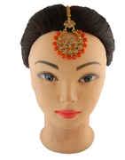 Orange Colour Gold Finish Beads Styled Maang Tikka
