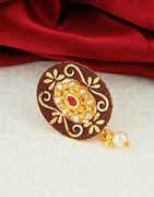 Maroon Colour Gold Finish Stunning Saree Pin Fancy