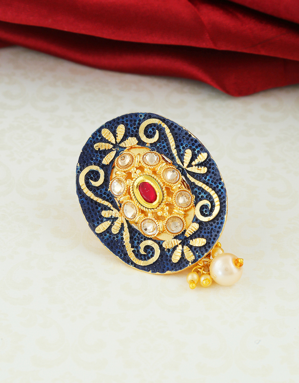 Navy-Blue Colour Gold Finish Styled With Pearls Beads Fancy Saree Pin