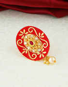 Red Colour Gold Finish Traditional Saree Pin Fancy