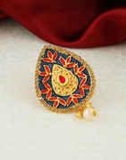 Gold Finish Navy-Blue Colour Fancy Sari Pin