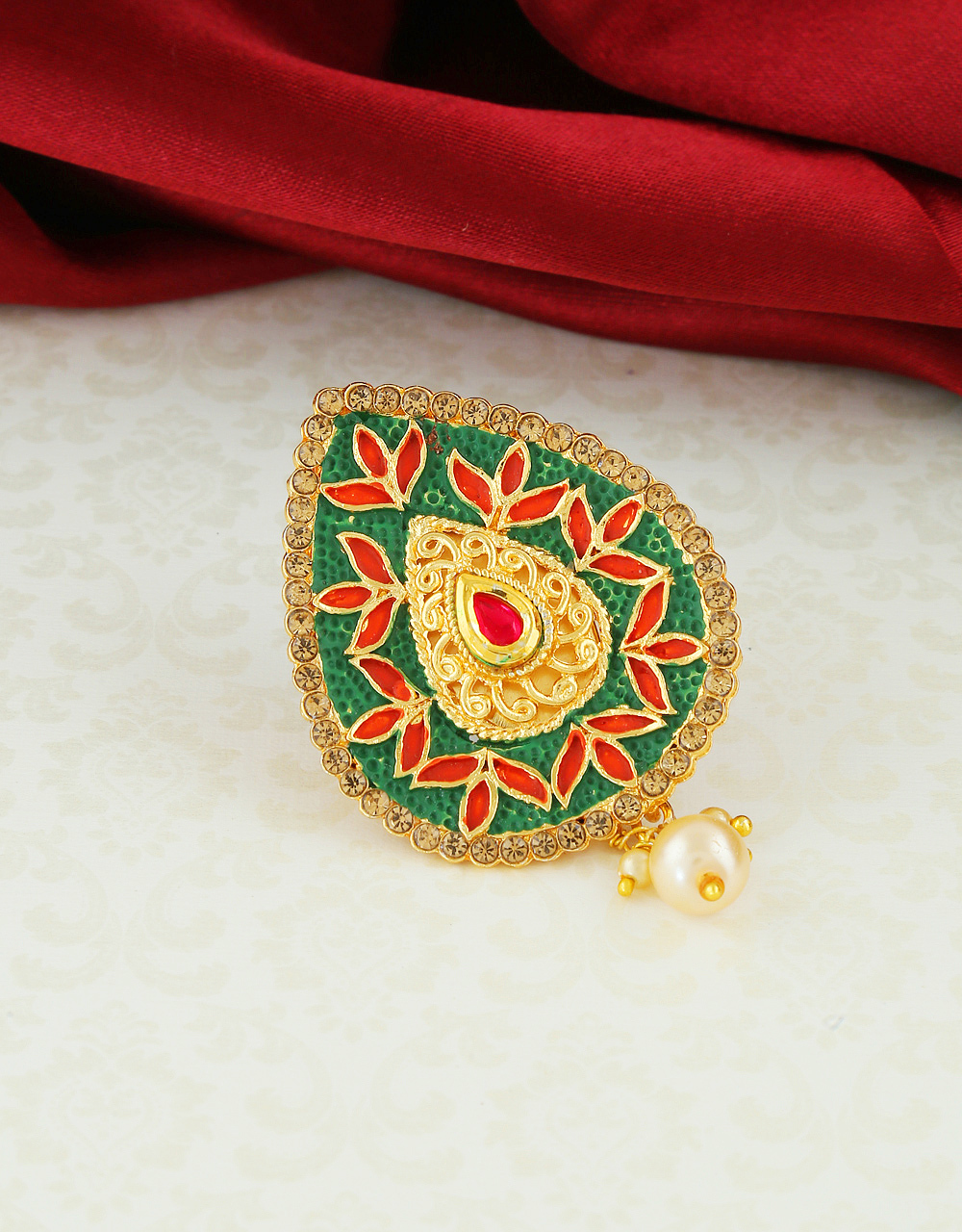 Green Colour Gold Finish Styled With Mina Work Saree Pin