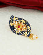 Navy-Blue Colour Gold Finish Fancy Saree Pin