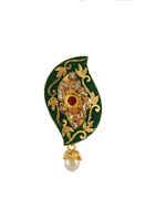 Green Colour Gold Finish Fancy Saree Pin