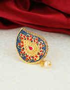 Fashionable Navy Blue Colour Saree Pin Designer