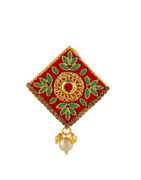 Red Colour Gold Finish Floral Design Kundan Saree Pin
