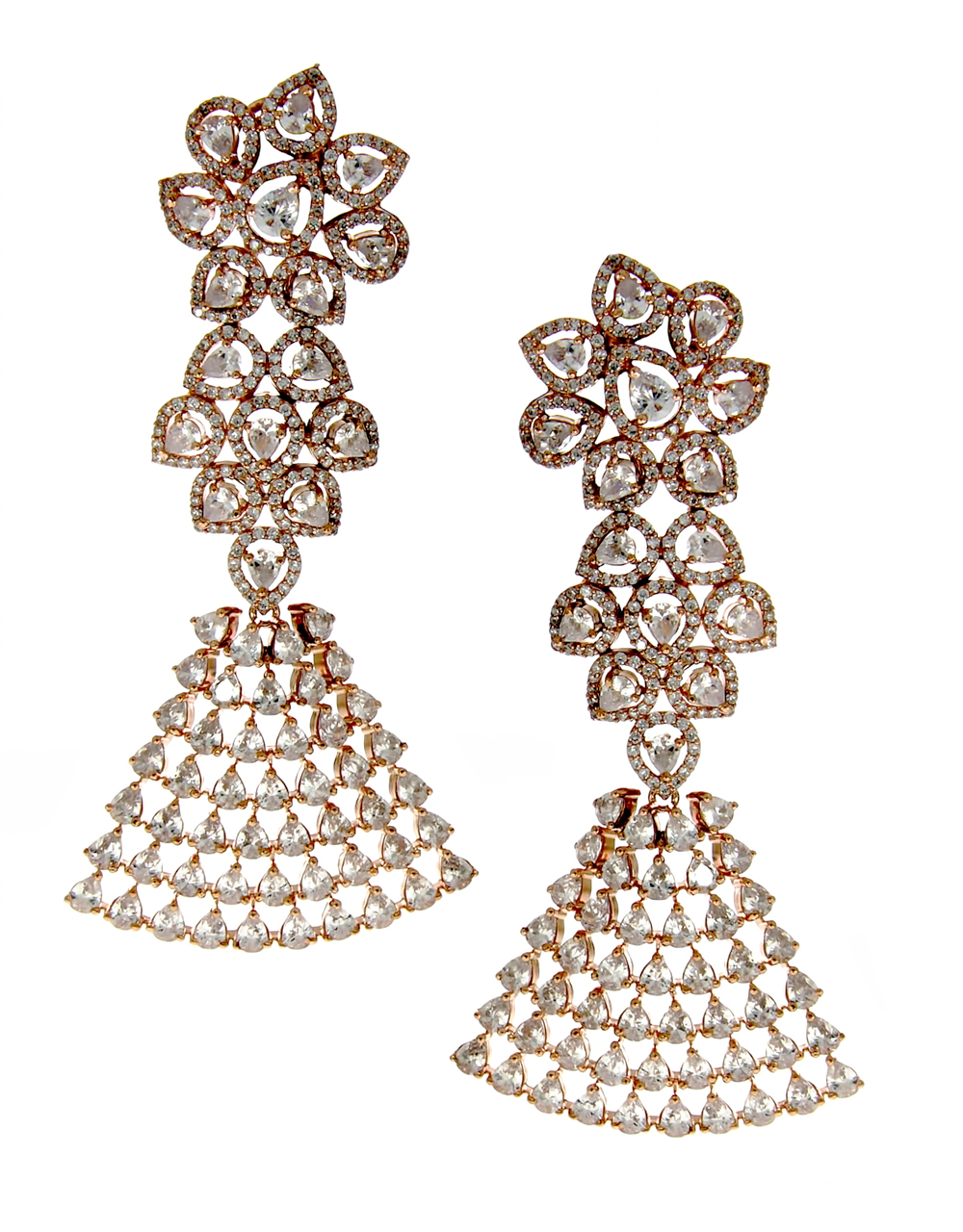 Designer Rose Gold Finish Earrings Studded With American Diamond Party Wear Earrings