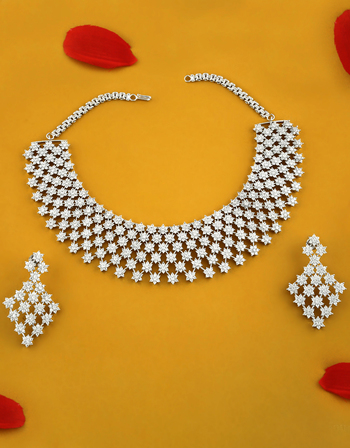Silver Finish Necklace Studded With American Diamond Party Wear Jewellery