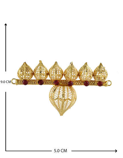 Gold Finish Pink Colour Leafy Design Bajuband For Ganpati Jewellery