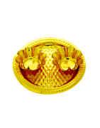 Haldi-Kunku Gold Finish Puja Thali For Ganpati Festival