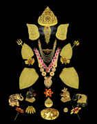 Designer Gold Finish Stunning Puja Thali For Ganpati