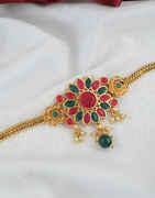Floral Design Multi Colour Gold Finish Bajuband Artificial Jewellery