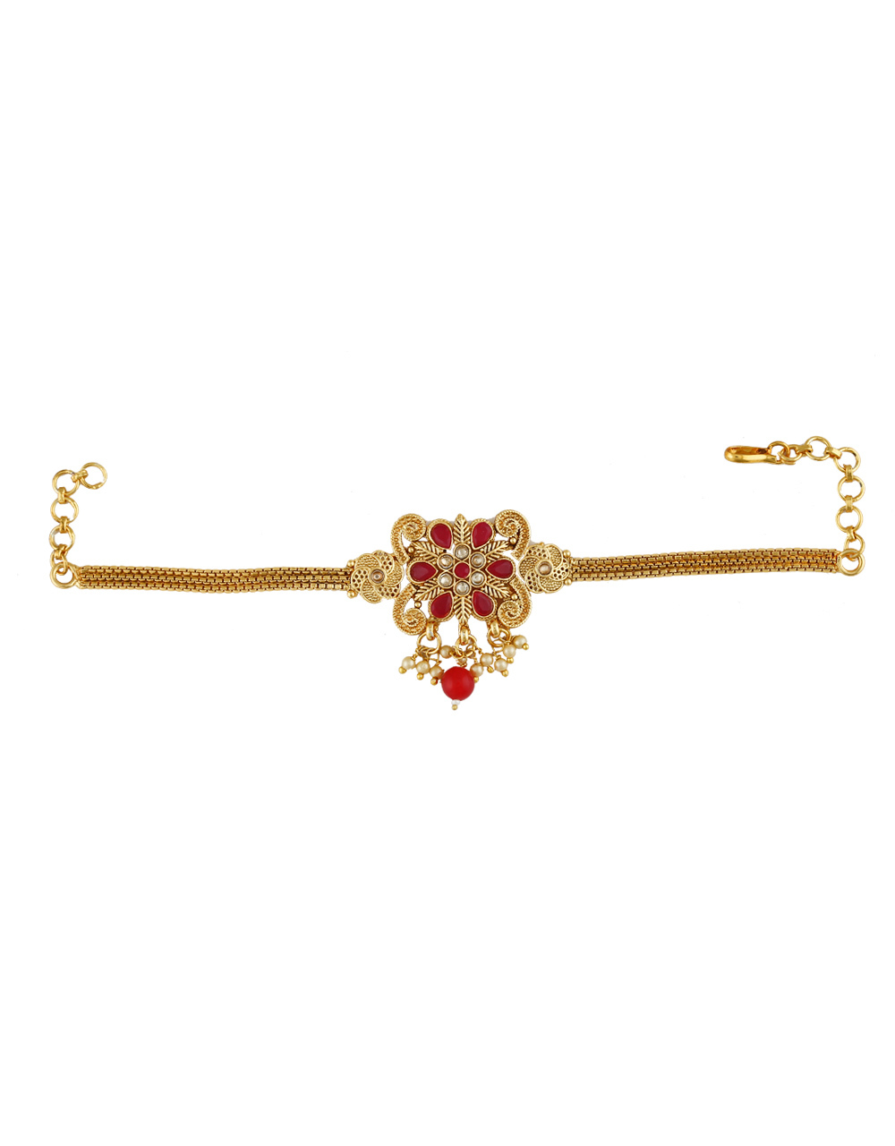Red Colour Gold Finish Fancy Traditional Bajuband Fancy