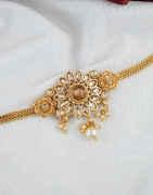 Peach Colour Bajuband Styled With Pearls Beads Fancy Armlet