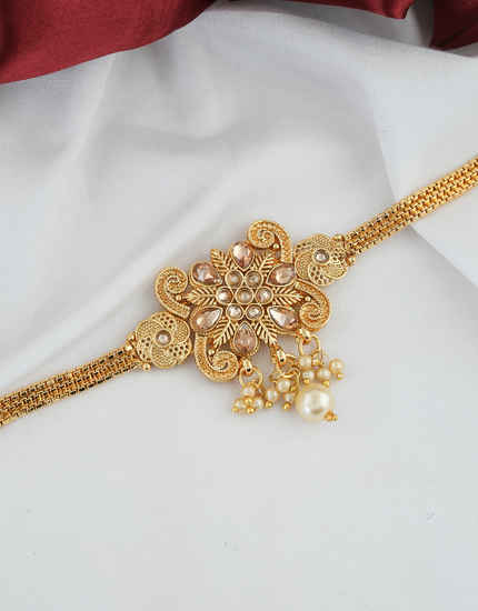 Gold Finish Stunning Bajuband Jewellery For Fancy