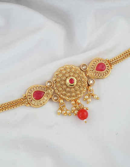 Red Colour Gold Finish Simple Stunning Bajuband Fancy
