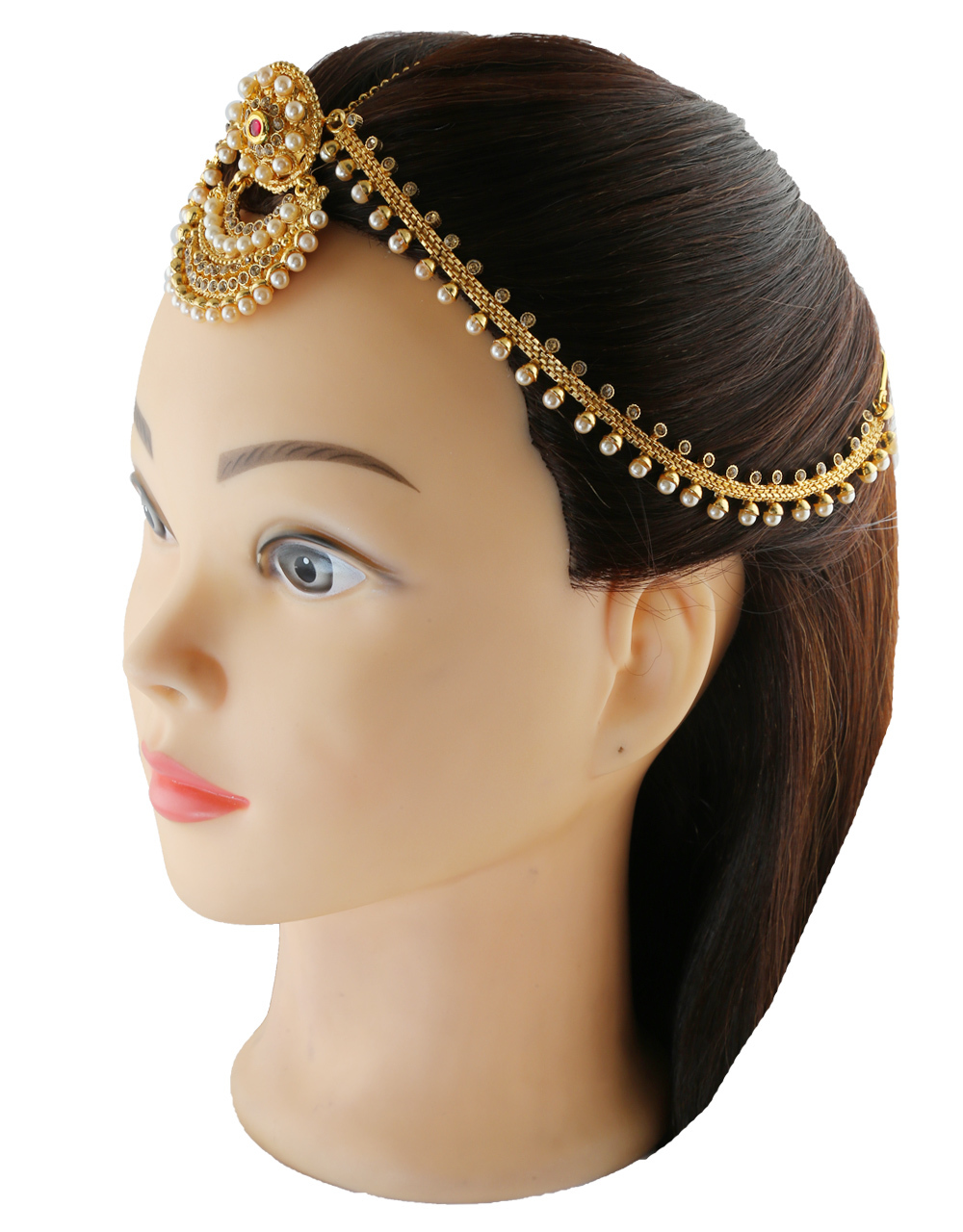 Gold Finish Matha Patti Studded With Stones Fancy Forehead Jewellery