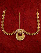 Traditional Gold Finish Styled With Pearls Beads Fancy Forhead Jewellery