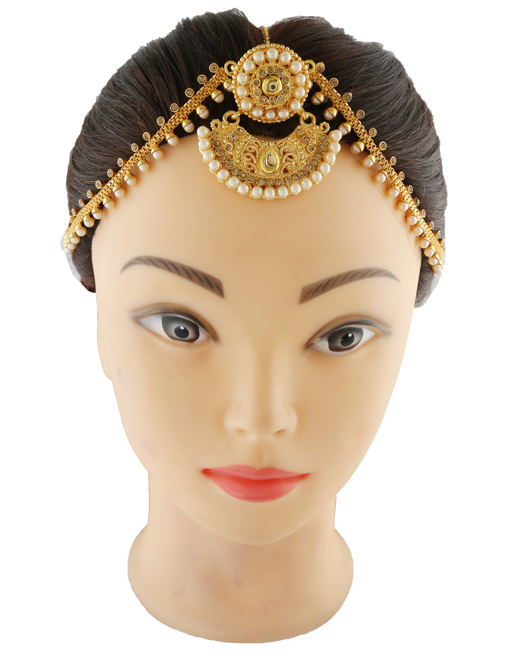 Designer Gold Finish Studded With Stones Borla Matha Patti