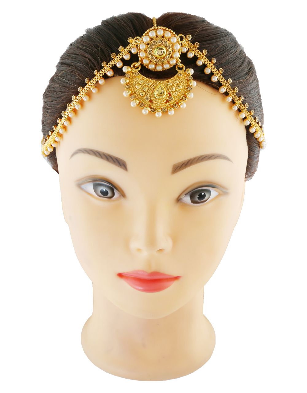 Matte Gold Finish Pearls Styled Stunning Hair Forehead Jewellery