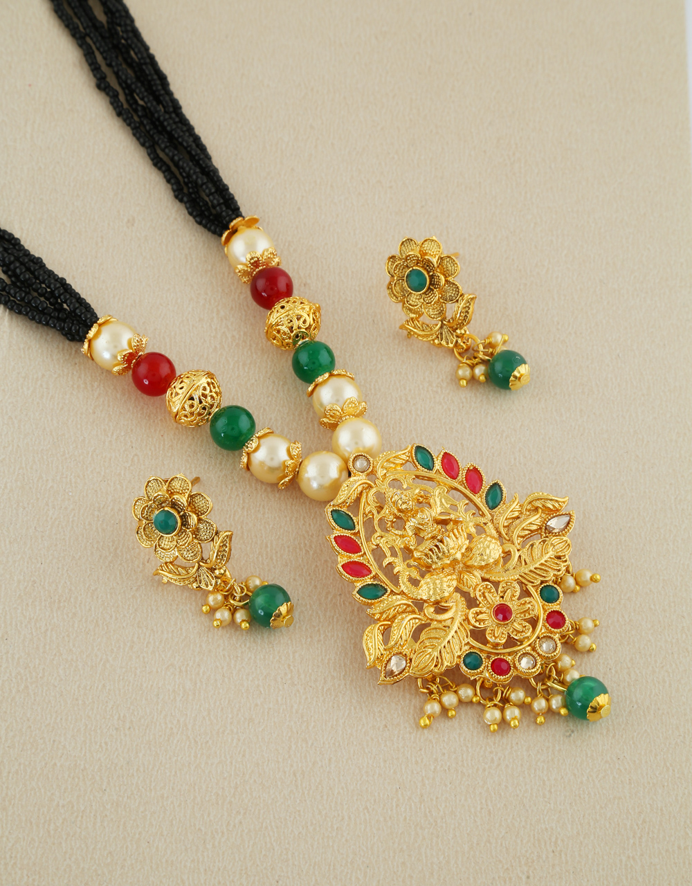 Designer Gold Finish Mangalsutra Styled With Black Colour Beads Fancy Jewellery