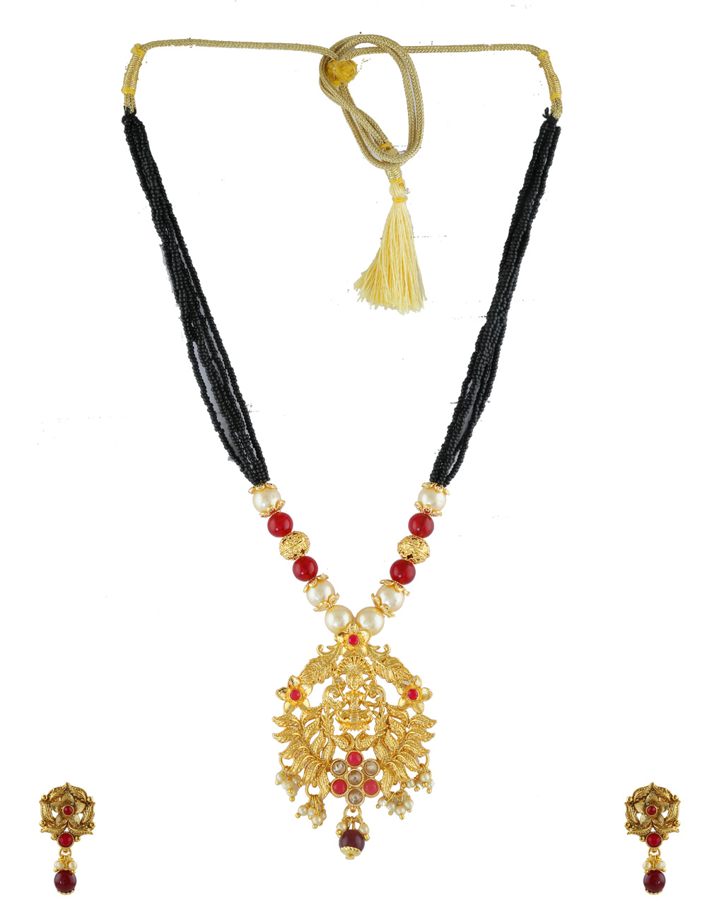Red Colour Antique Gold Finish Temple Short Mangalsutra