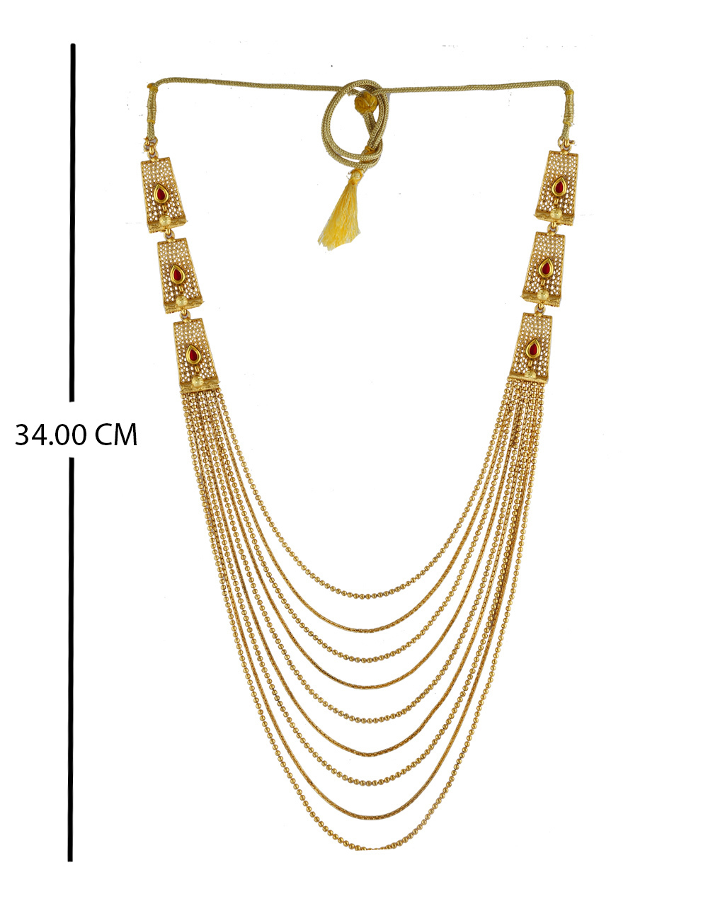Fancy Red Colour Gold Finish Fancy Maharashtrian Long Necklace