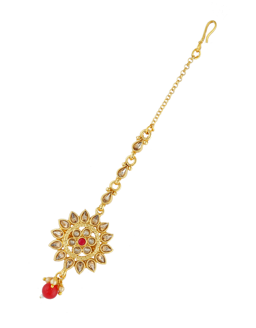 Gold Finish Red Colour Mang Tikka Hair Jewellery For Girls