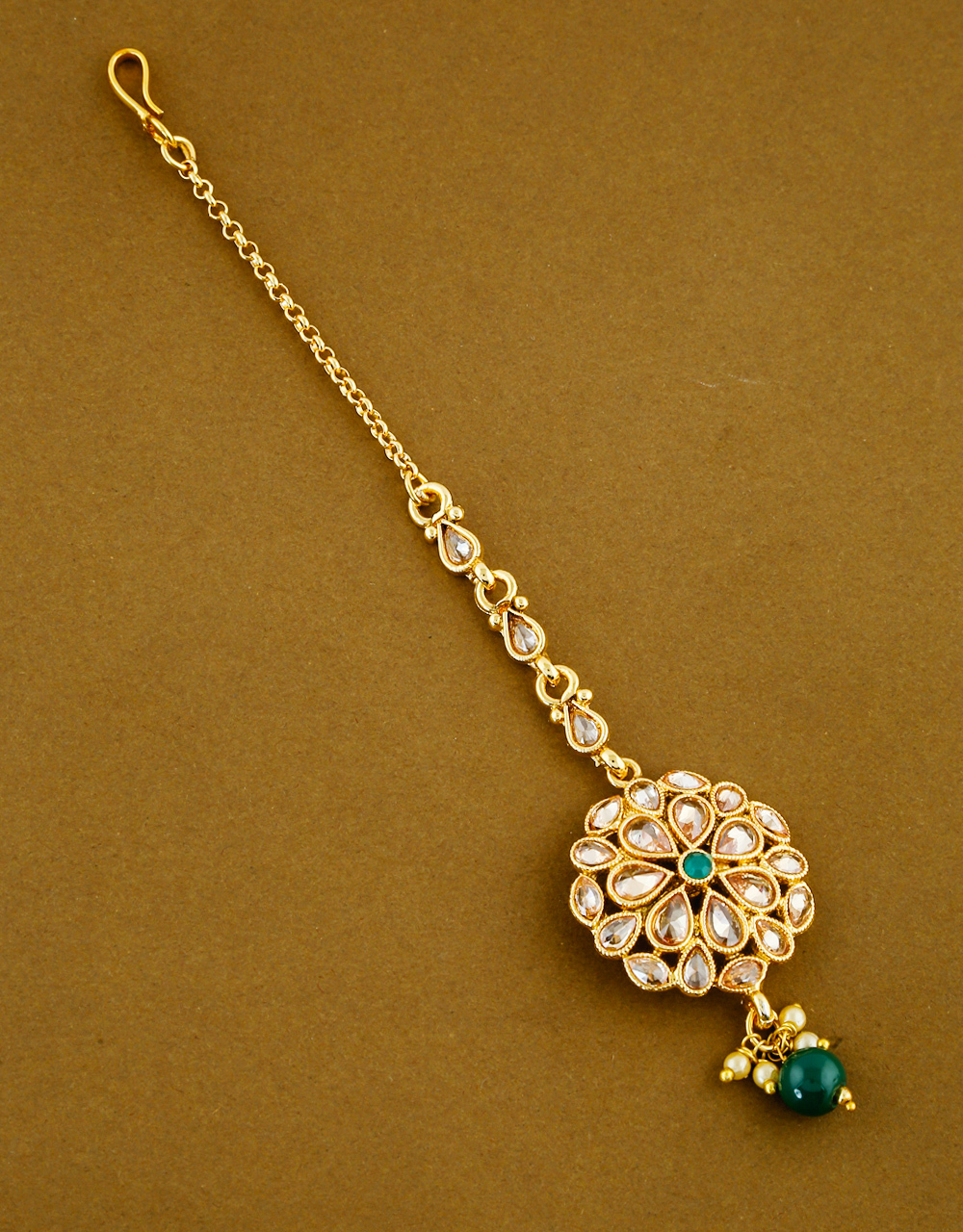 Green Colour Gold Finish Wedding Mang Tika Jewellery