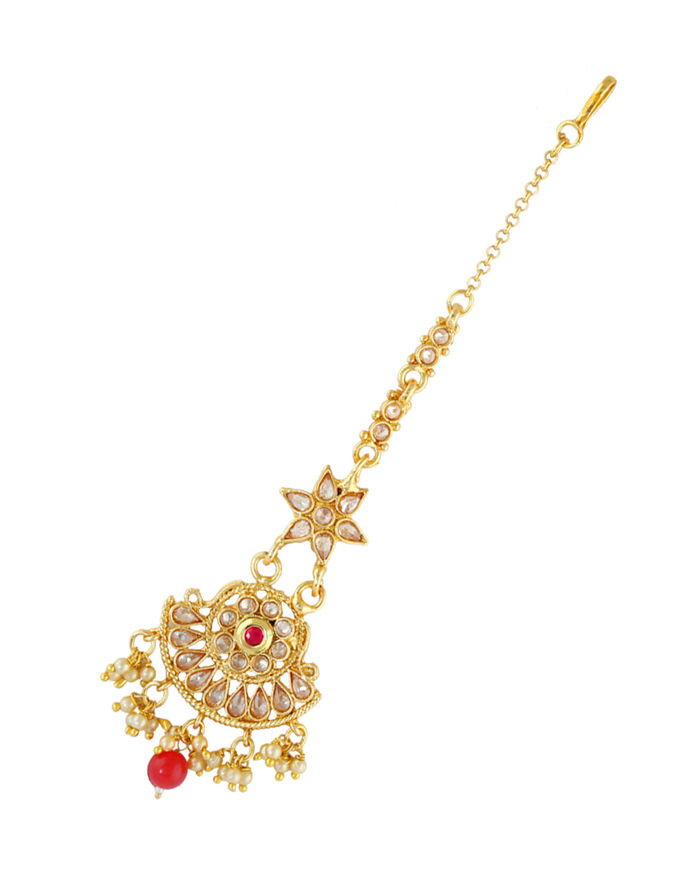 Red Colour Designer Gold Finish Mang Tikka Hair Accessories
